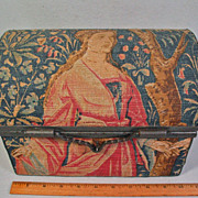 SALE Rare Antique Tapestry Chest Box Jewelry Treasure Mille-Fleurs Lady Unicorn Jewelry