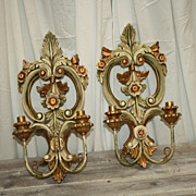 SALE Antique Italian Sconces Carved Florentine Candle Lights Rare