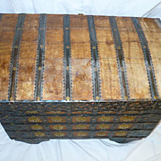 Rare Antique Dowry Chest Box Trunk Wood Wheels Ornate Metal