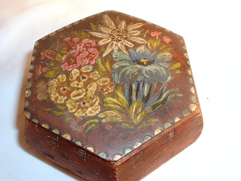 Vintage Hand Painted Box Tole Jewelry Trinket Dresser