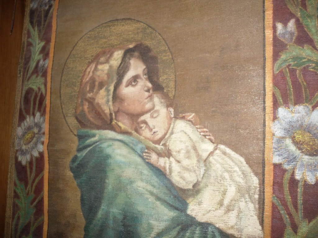 Antique 1905 Painting Church Banner Madonna after Ferruzzi Madonnina