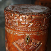 SALE Antique Bamboo Oriental Tea Caddy Asian Chinese Box 19th Century