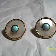 "SALE Vintage Earrings Studs MOP Turquoise 1"" Inch"