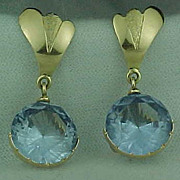SALE Vintage 14K Blue Topaz Earrings Dangle