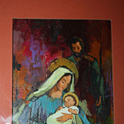 SALE Vintage Norcross Christmas Painting Original Art Nativity Bold Oil