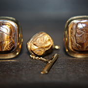SALE Vintage Cufflinks Tie Tack Set Tigers Eye Intaglio Dolan Bullock DB