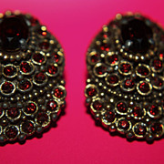 SALE Large Garnet Paste Clip On Earrings Clips 1930s Gold Wash