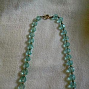 SALE Vintage Aqua Crystal Beads Beaded Necklace