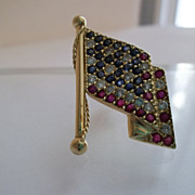 SALE Vintage 14k Flag Lapel Pin Patriotic Diamond Ruby Sapphire Senate