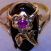 SALE Antique 14K Nouveau Ring Black Onyx Ruby Dramatic Unique