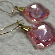 SALE Vintage Iridescent Pink Earrings Dangle