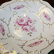 SALE German Weimar Porcelain Bowl Large Roses Gold