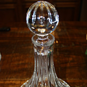 SALE Vintage Crystal Wine Decanter Heavy Cut