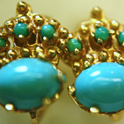 SALE 14K Turquoise Earrings Genuine