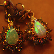 SALE 9K Opal Earrings Dangle Posts Pierced Topaz Lovely
