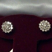 SALE Estate 14K Diamond Cluster Earrings Studs Starburst Brilliant