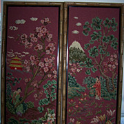 SALE Tapestry Embroidery Set Pair Asian Oriental Large Bamboo Frames