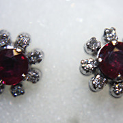 SALE Ruby Diamonds Earrings Studs Starburst Genuine Lovely