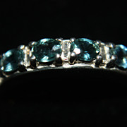 SALE Vintage Green Sapphire Ring Band Sterling Silver