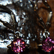 SALE Vintage Pink Topaz Earrings Dangle 6mm 925 Intense Color
