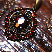 SALE Lovely Garnet Pendant Necklace 925 Chain