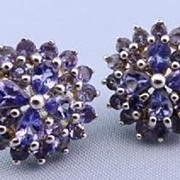 "SALE Large Tanzanite Cluster Earrings Studs Posts 5/8"" Lavender"