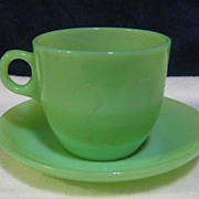 Fire King Jadeite  Advertising Cup & Saucer