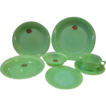 7 Piece Fire King Jadeite Jane Ray Set including HTF Butter Plate - Foil Stickers