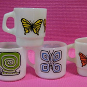SOLD 4 Mugs 2 Fire King Butterfly  and 2 Federal Snail Mugs - 10% OFF Everything in APRIL