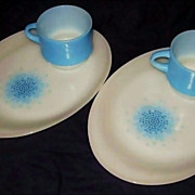 2 Fire King Blue Mosaic Snack Set  including 4 pieces