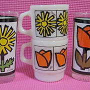2 Fire King Flower Mugs & Matching Tumblers
