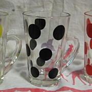 3 Fire King Polk Dot Patio  Mugs