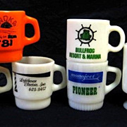 Lot of 6 Advertising Mugs Fire-King  Halloween Electric Inc. Bullfrog Resort Horse Park
