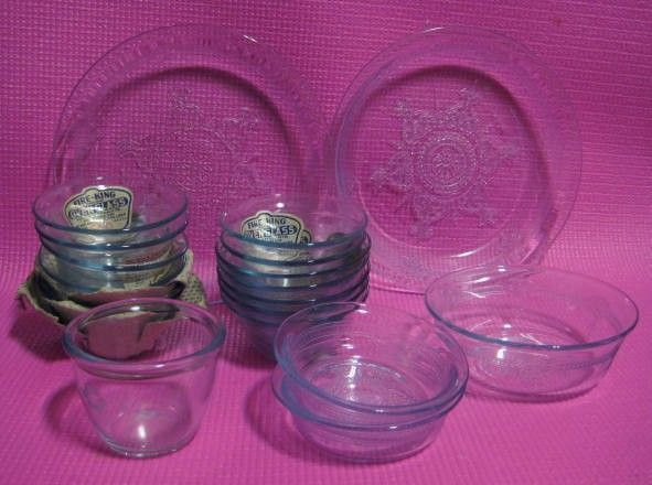 18 Pieces Fire King Sapphire Philbe -  Plates  & Cups  Factory Label