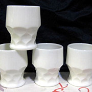 SOLD 4 Anchor Hocking  Milk Glass Georgian Tumblers - 10% OFF Everything in APRIL