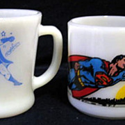 2 Super Hero Comic Mugs -Fire King  Batman & Superman