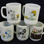 SOLD 7  Fire King Character Mugs - Snoopy Steamboat Willie Ziggy Minnie and More - 10% OFF Eve