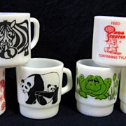 SOLD 6 Fire King Animal Mugs - 10% OFF Everything in APRIL