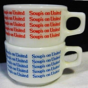 2 Pyrex United Airlines Soup Mugs - Red & Blue