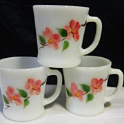 SOLD 3  Fire King Pink Flower Mugs  - 10% OFF Everything in APRIL