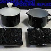 3 Piece Fire King Black Creamer Sugar Lid & 2 Black Marble Ashtrays