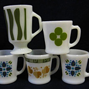 5 Fire King Design Mugs  - Dots - Stripes Clover Circles