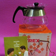 SOLD Pyrex Coffee Tea Pot - NOS - 10% OFF Everything in APRIL