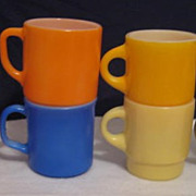 Lot of  6 Colorful Fire King Mugs