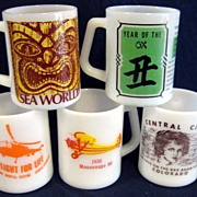 5 Federal Glass Mugs  - Sea World, Helicopter Airplane Celestial
