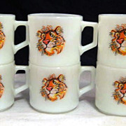 6 Fire King Short Tiger Mugs