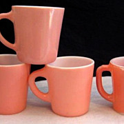 SOLD 4 Pink Mugs  - Fire King & Hazel Atlas - 10% OFF Everything in APRIL