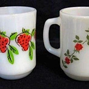 2 Fire King Roses and Strawberry Mugs