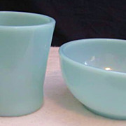 Fire King Turquoise Mug & Bowl Set