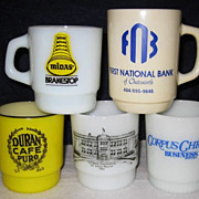 SOLD Lot of 5 Fire King Advertising Mugs - 10% OFF Everything in APRIL